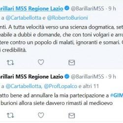 VACCINI: Davide Barillari (Movimento 5 stelle) contro il GIMBE che premia Burioni ; una scienza dogmatica, settarista, monolitica e impermeabile, Cartabellotta sono gente del miocene inferiore.